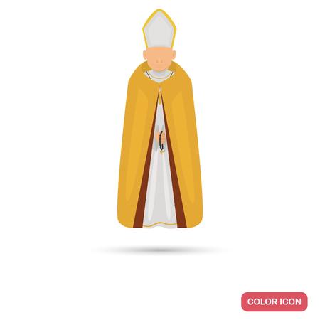 sotana: Icono plano de corte sacerdotal color para diseño web y móvil Vectores
