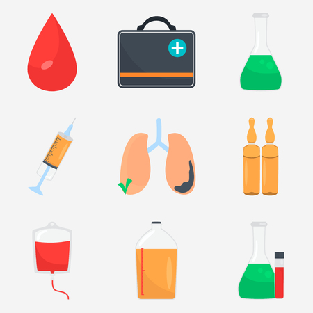 Medicine color flat icons set for web and mobile design Ilustrace