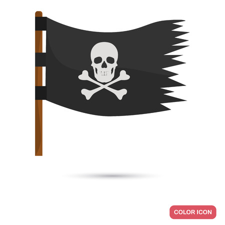 Pirate flag color flat icon for web and mobile design