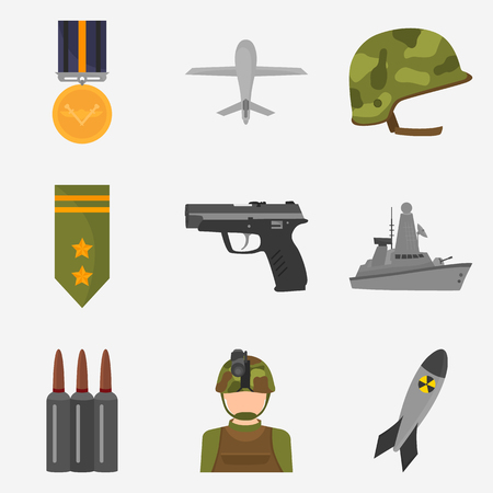 chemical weapon symbol: Miliyary color flat icons set for web and mobile design Illustration