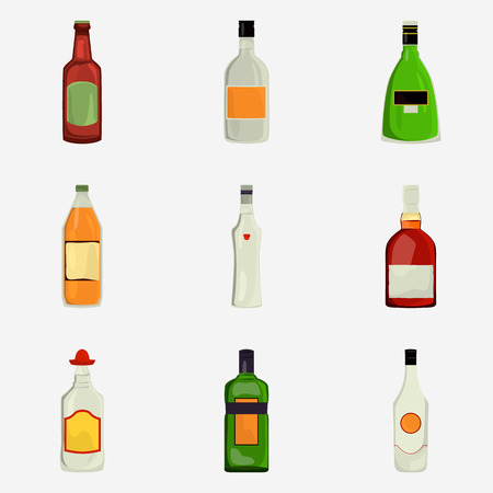Set of alcohol drinks color flat icons for web and mobile design