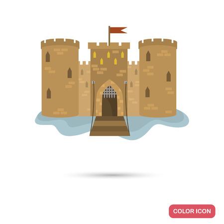 Icône de couleur du château du Moyen Âge pour un design web et mobile