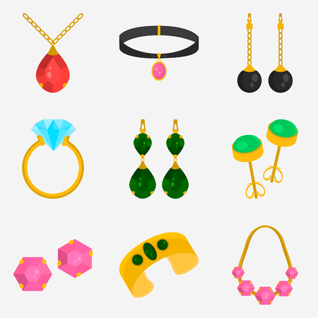 Jewelry color flat icons set for web and mobile design