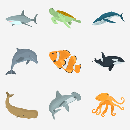 Set of sea animals color flat icons for web and mobile design Ilustracja