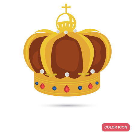 King crown color flat icon for web and mobile design