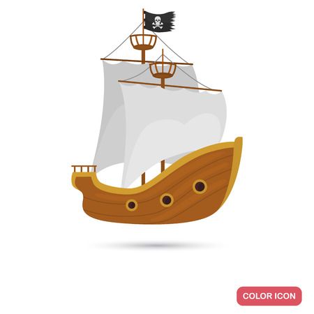 Pirate ship color flat icon for web and mobile design