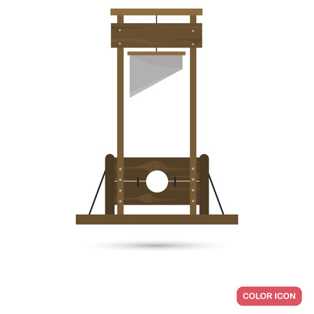 Ancient guillotine color flat icon for web and mobile design