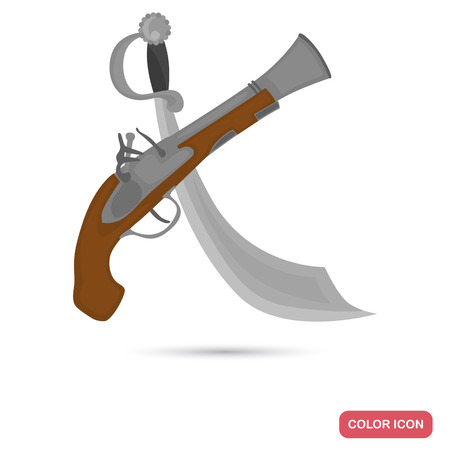 Pirate saber and musket color flat icon for web and mobile design
