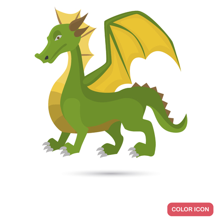 Ancient legend dragon color flat icon for web and mobile design