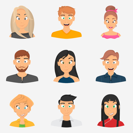 hairdo: Men and woman avatars color icons for web and mobile design