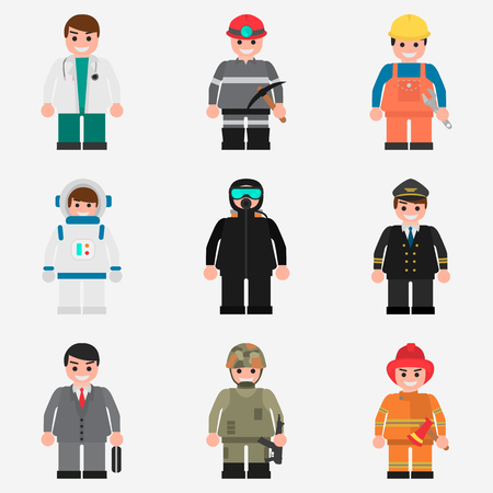 Set of human professions color flat icons for web and mobile design Çizim