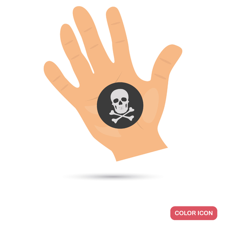 violator: Black mark on the hand color flat icon for web and mobile design