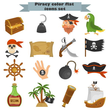 Set of pirates color flat icons for web and mobile design