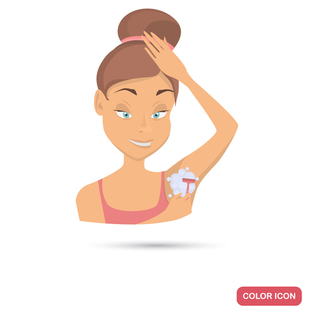 Girl shaving her armpits color flat icon for web and mobile design