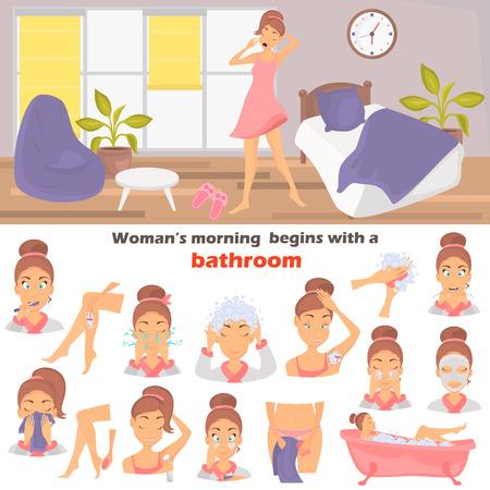 Morning girl hygiene color flat icons set. Girl awakening at the room illustration for web and mobile design Stock Vector - 82598683