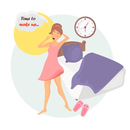 Girl awakening illustration for web and mobile design Illustration
