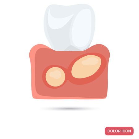 pus: Flux gum desease color flat icons for web and mobile design Vettoriali