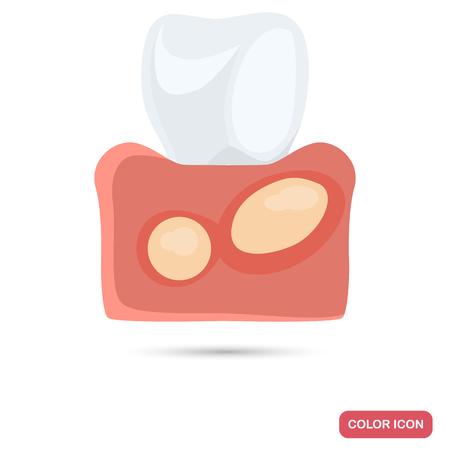 Flux gum desease color flat icons for web and mobile design Illustration