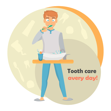Guy brushing his teeth color illustration. Dental care for web and mobile design