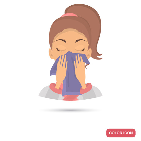 Girl wipes her face with a towel color flat icon for web and mobile design