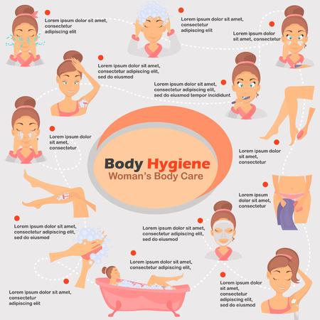 Morning girl hygiene infographics set illustration for web and mobile design