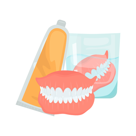 Set pf false jaw care color flat icons for web and mobile design