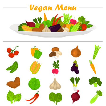 Color vegetables icons set. Vegetables composition on the plate at the top for web and mobile design