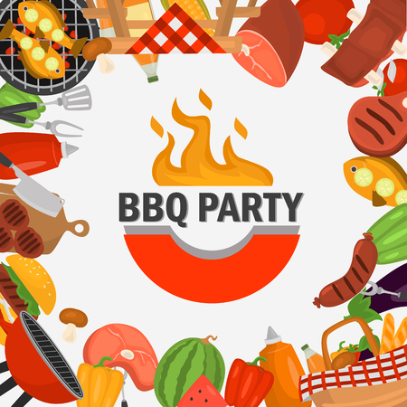 Barbeque party color background for web and mobile design