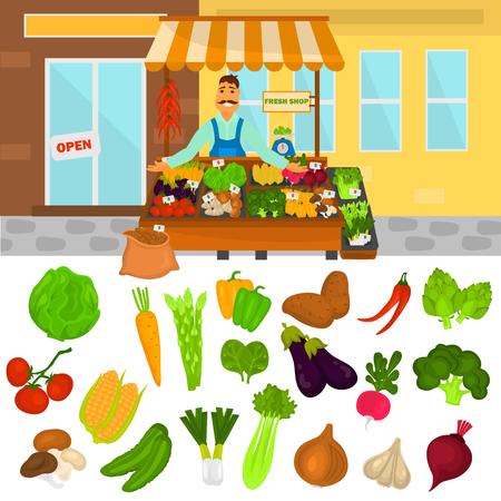 carbohydrate: Color vegetables icons set. Vegetables shop color illustartion for web and mobile design