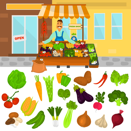 Color vegetables icons set. Vegetables shop color illustartion for web and mobile design