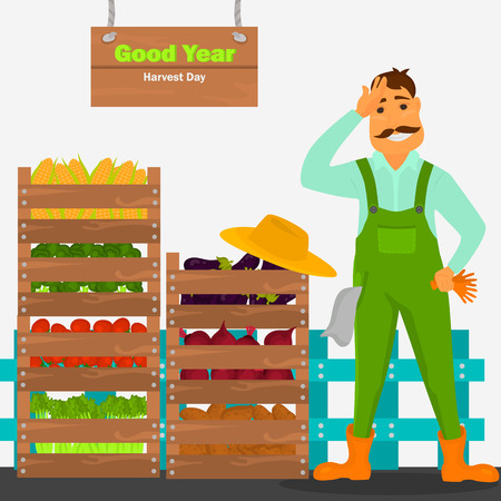 The farmer has a good harvest of vegetables illustration for web and mobile design Illustration