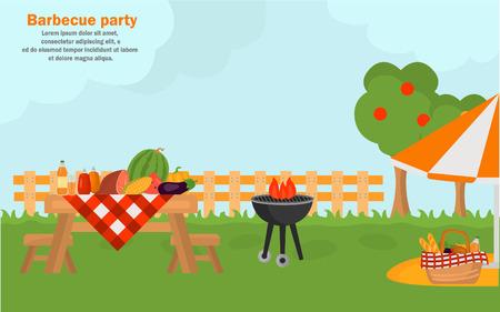 웹 및 모바일 디자인을위한 야외 바베큐 시간 배너