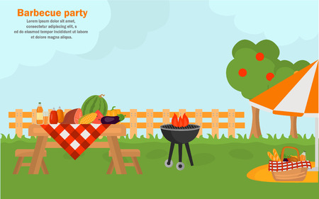 Outdoor bbq time banner for web and mobile design