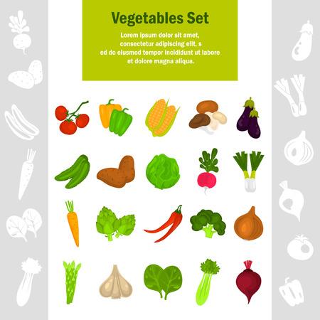 Color vegetables icons set for web and mobile design Illustration