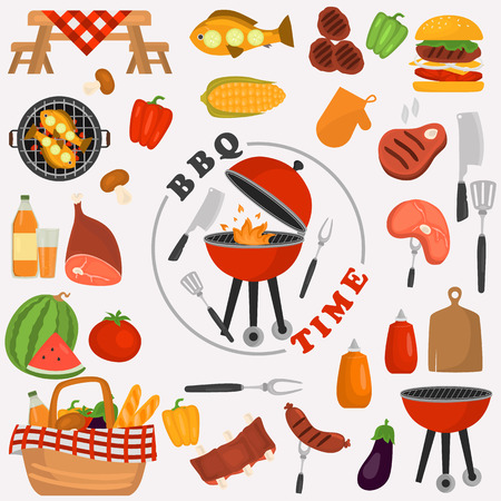 Barbeque color icons set for web and mobile design