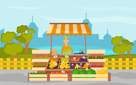 Fruit shop on the background of the city and the park color banner
