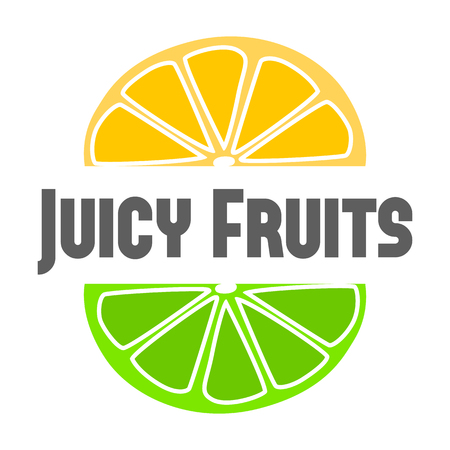 flesh colour: Juicy fruits logo color illustration isolated on white background