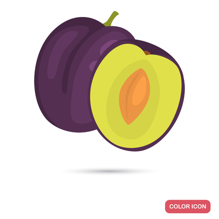 Plum color flat icon for web and mobile design Illustration