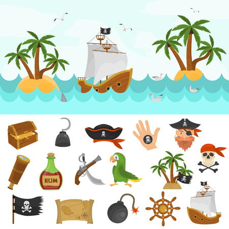 musket: Pirates time color icons set. Pirate boat at the ocean color illustration for web and mobile design
