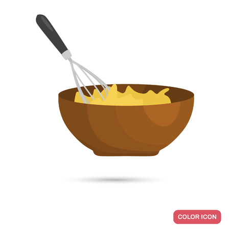 Mixing with a whisk of eggs color flat icon for web and mobile design