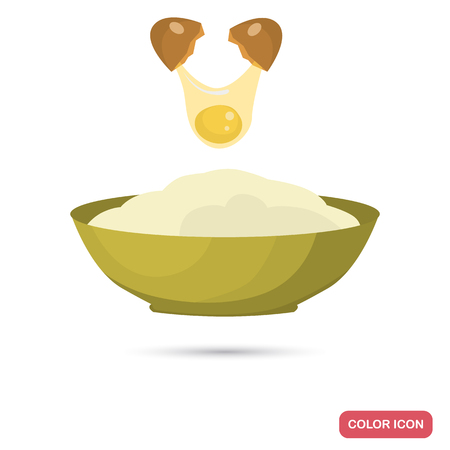 Mixing the egg with flour for dough preparation color flat icon for web and mobile design Illustration