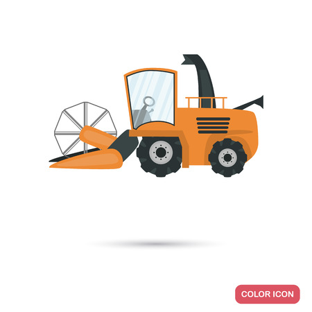 Agriculture harvester color flat icon for web and mobile design