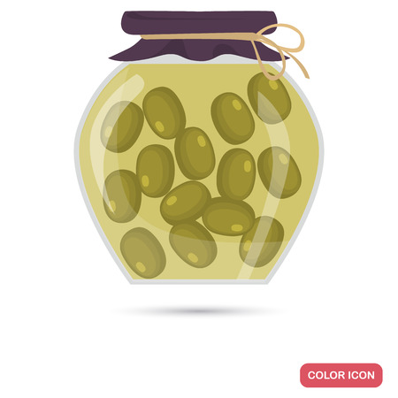 Pickled olive color flat icon for web and mobile design Çizim
