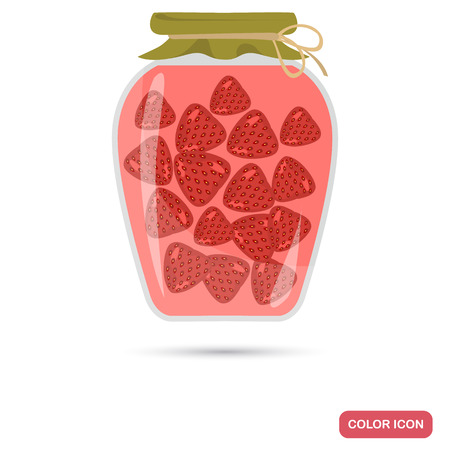Strawberry jam jar color flat icon for web and mobile design
