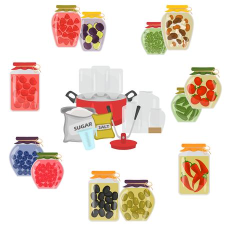 웹 및 모바일 디자인을위한 과일 및 채소 보존