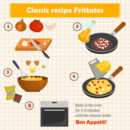 The recipe for frittates cook color illustration for web and mobile design 矢量图像