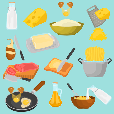 Processes of cooking color icons set for web and mobile design Illustration