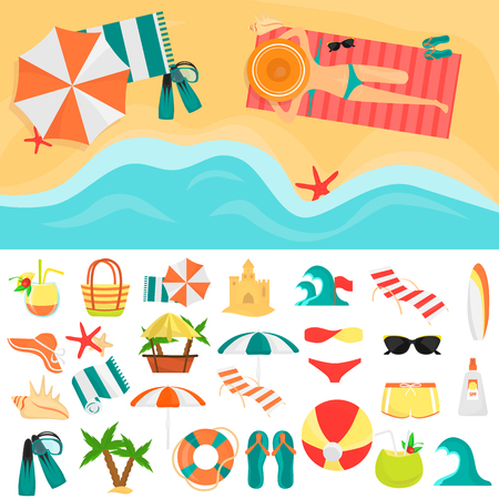 Beach rest color icons set. Girl on the beach sunbathing color illustration for web and mobile design Illustration