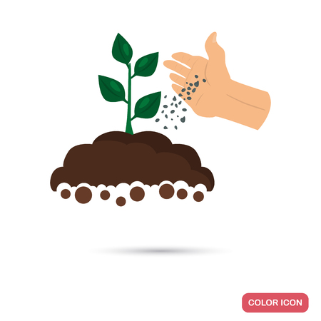 Putting fertilizer to the agriculture crop color flat icon for web and mobile design 일러스트