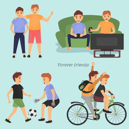 Male Friendship sketches set for web and mobile design